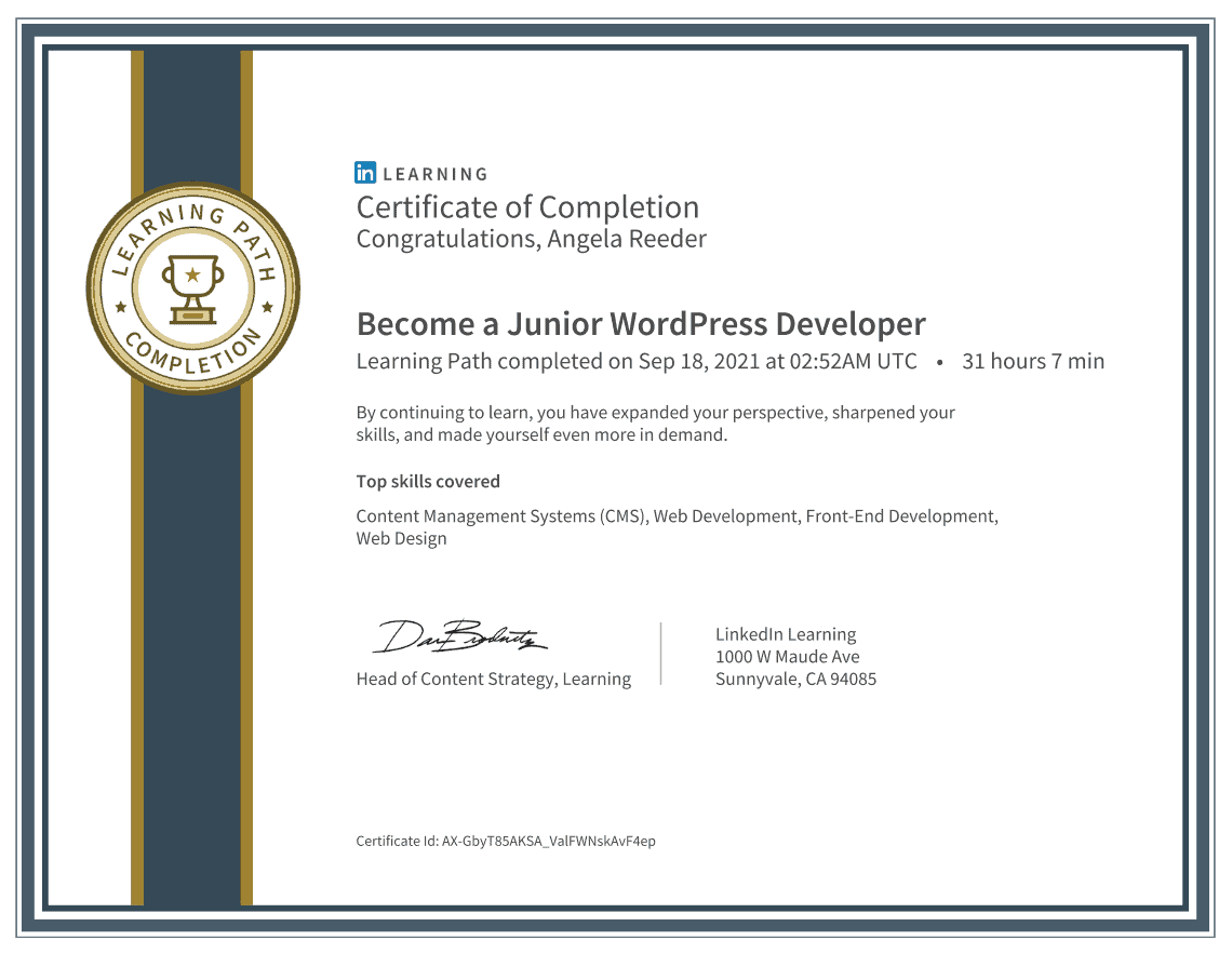 Linked In Learning Junior WordPress Developer Certification